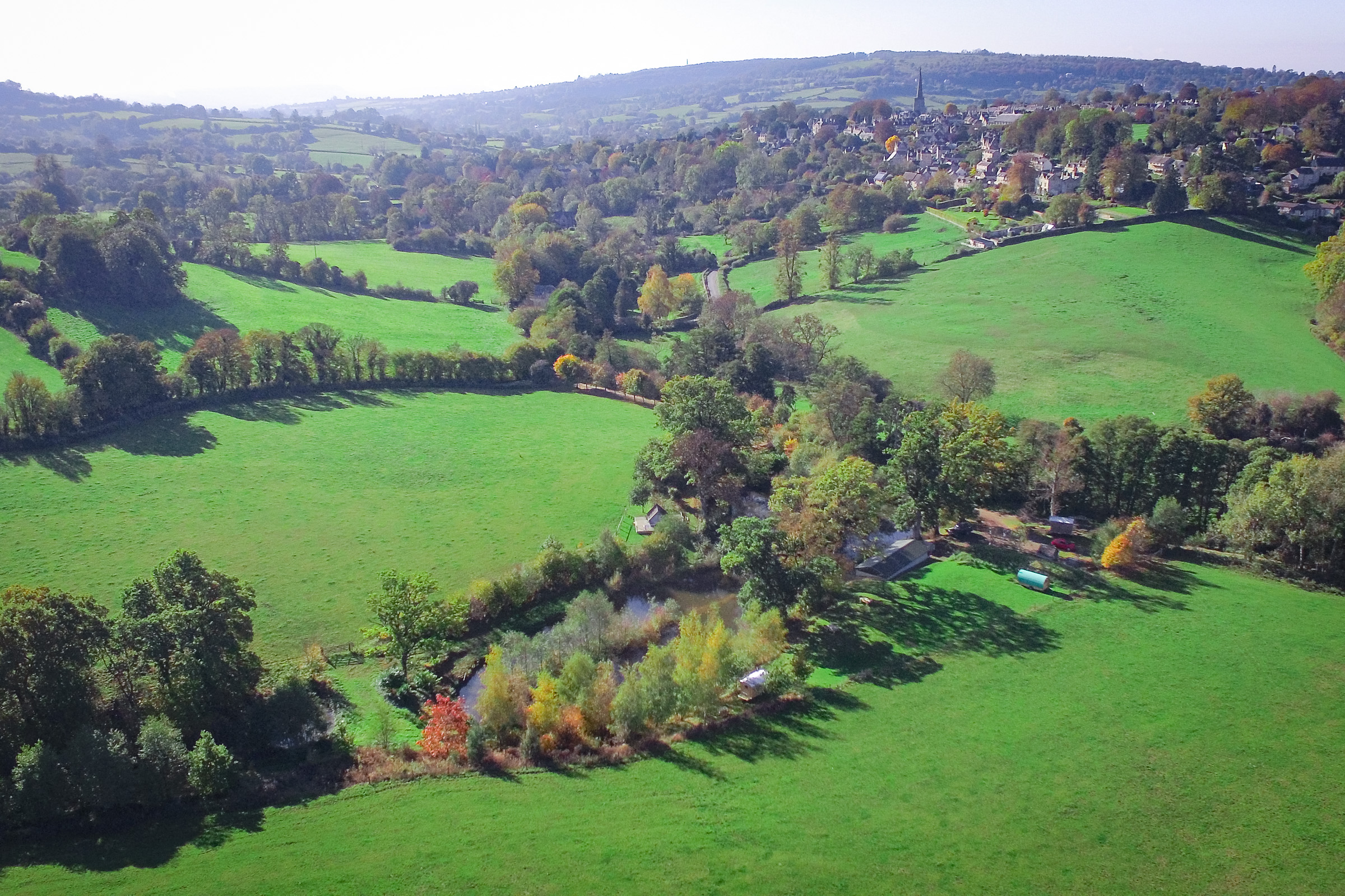 Painswick Glamping – Campsite and Painswick Village in the distance