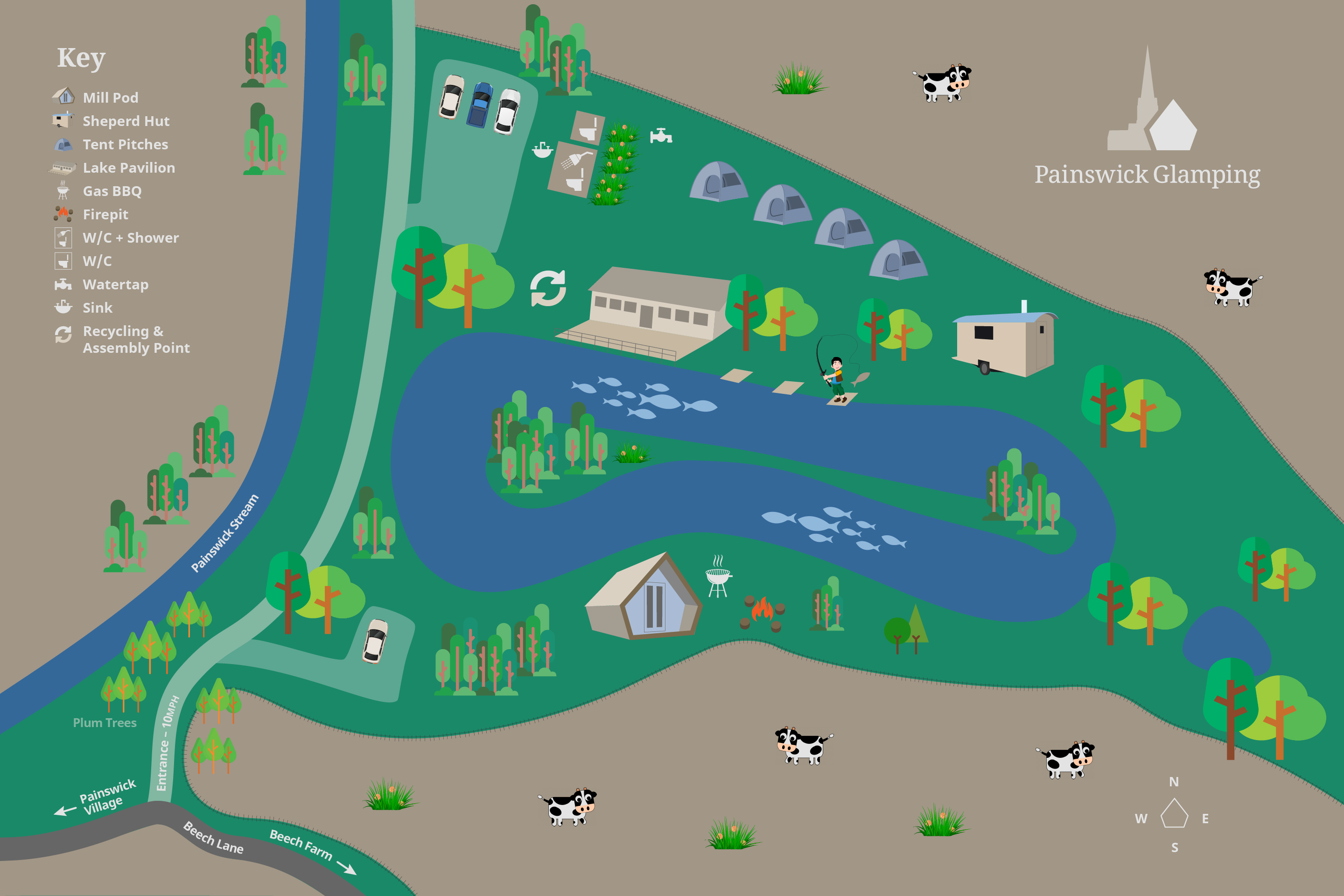 Painswick Glamping Site Map